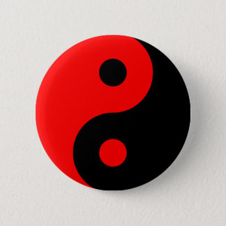 Red Yin Yang Symbol 6 Cm Round Badge