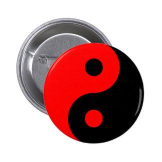 Red Yin Yang Symbol 6 Cm Round Badge