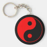 Red Yin Yang Symbol Keychain