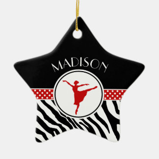 Red Your Name Zebra Print Ballet Dancer Christmas Ornament