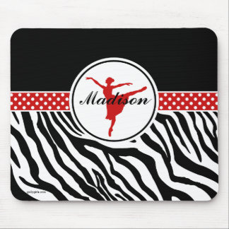 Red Your Name Zebra Print Ballet Dancer Mouse Pad