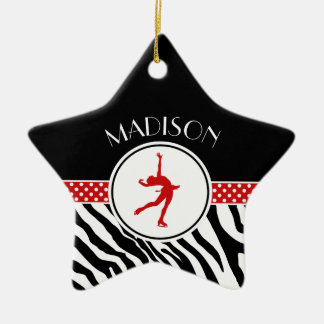 Red Your Name Zebra Print Figure Skating Christmas Ornament