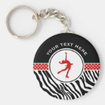 Red Your Text Zebra Print Figure Skating Basic Round Button Key Ring