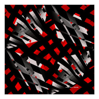 Red Zebra Abstract Poster