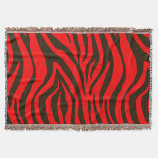 Red zebra animal print pattern throw blanket