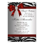 Red Zebra Bow Sweet Sixteen Birthday Party Personalized Announcement