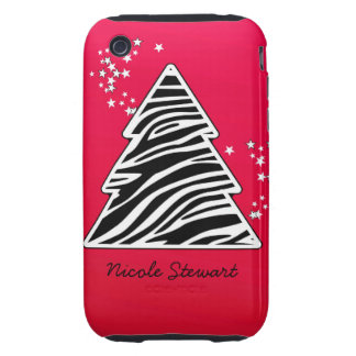 Red Zebra Christmas Tree iPhone 3 Tough Cover