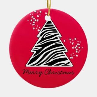 Red Zebra Christmas Tree Christmas Ornament
