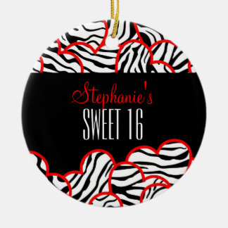 Red zebra heart Sweet 16 Birthday Ornament