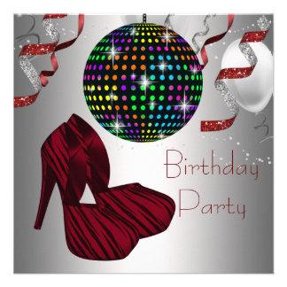 Red Zebra High Heel Shoes Disco Birthday Party Custom Invitation