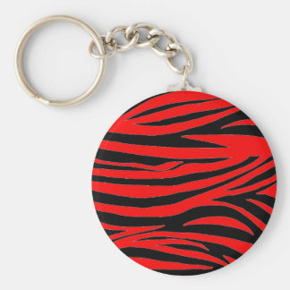 Red Zebra in Black and Red Key Ring