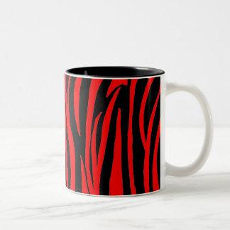 Red Zebra in Black and Red Two-Tone Coffee Mug