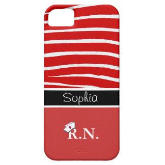 Red Zebra Pattern+Registered Nurse iPhone 5 Case