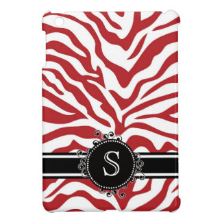 Red Zebra Pattern with Monogram iPad Mini Cover