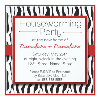 Red Zebra Print Housewarming Party Invitations