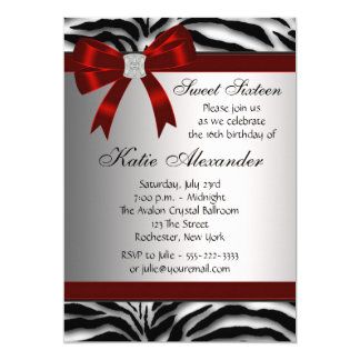 Red Zebra Sweet Sixteen Birthday Party 5x7 Paper Invitation Card