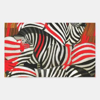 Red Zebras Rectangle Sticker