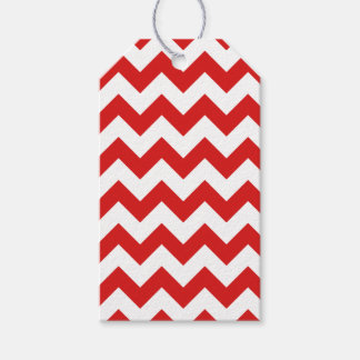 Red Zigzag Stripes Chevron Pattern Gift Tags
