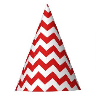 Red Zigzag Stripes Chevron Pattern Party Hat