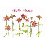 Red Zinnia Flower Post Card Watercolour Art