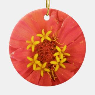 Red Zinnia Macro Custom Birthday Round Ceramic Decoration