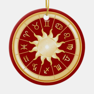Red Zodiac Wheel 1 Christmas Ornament