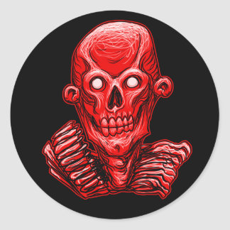 Red Zombie Skull Head Sticker