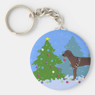 Redbone Coonhound Decorating Christmas Tree Basic Round Button Key Ring
