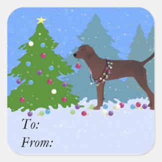 Redbone Coonhound Decorating Christmas Tree Square Sticker