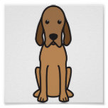Redbone Coonhound Dog Cartoon Poster