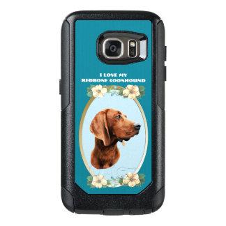 Redbone Coonhound on Teal Floral OtterBox Samsung Galaxy S7 Case