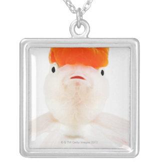 Redcap lionhead goldfish (Carassius auratus) Silver Plated Necklace