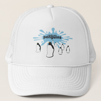 Redcar penguins with splash behind trucker hat
