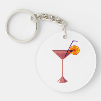 reddish drink blue straw orange graphic.png Double-Sided round acrylic key ring