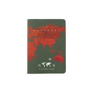 reddish world map monogram international travel passport holder