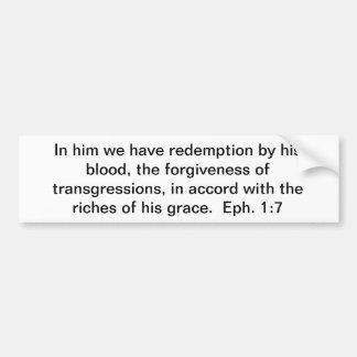 Redemption by His blood Bumper Sticker