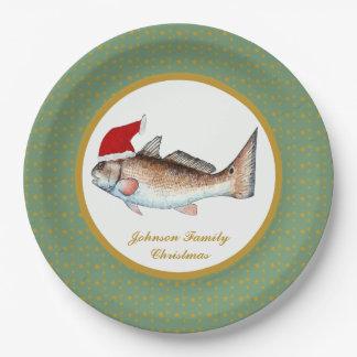 Redfish Santa Christmas Paper Plate