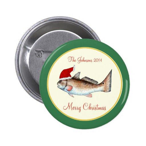 Redfish Santa Hat Christmas Green Pinback Buttons