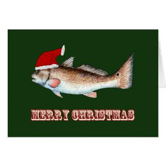 Redfish Santa Hat Christmas on Green Card