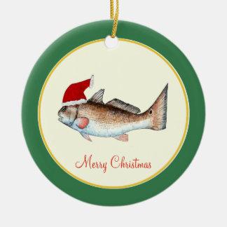 Redfish Santa Hat Christmas on Green Christmas Ornament