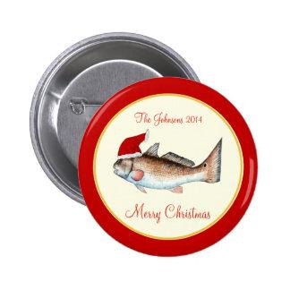 Redfish Santa Hat Christmas Red Pin