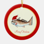 Redfish Santa Hat Christmas Red Double-Sided Ceramic Round Christmas Ornament