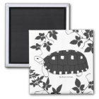 Redfoot Tortoise Magnet (b/w)