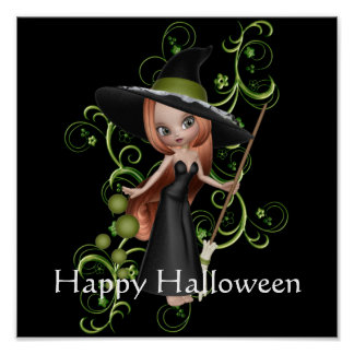 Redhaired Witch with Green Vines Poster Print