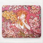 Redhead Among Flowers, Alphonse Mucha Mouse Pad
