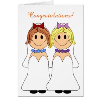 Redhead and Blonde Brides Lesbian Wedding Card
