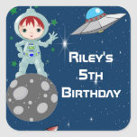 Redhead Astronaut Boy Party Favour Labels Square Sticker