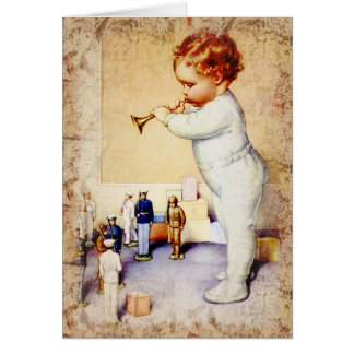 Redhead Baby Boy Blowing Horn to Soldiers Cards