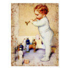 Redhead Baby Boy Blowing Horn to Soldiers Postcard