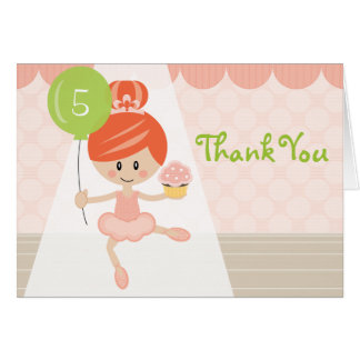 Redhead Ballerina Birthday Thank You Note Card